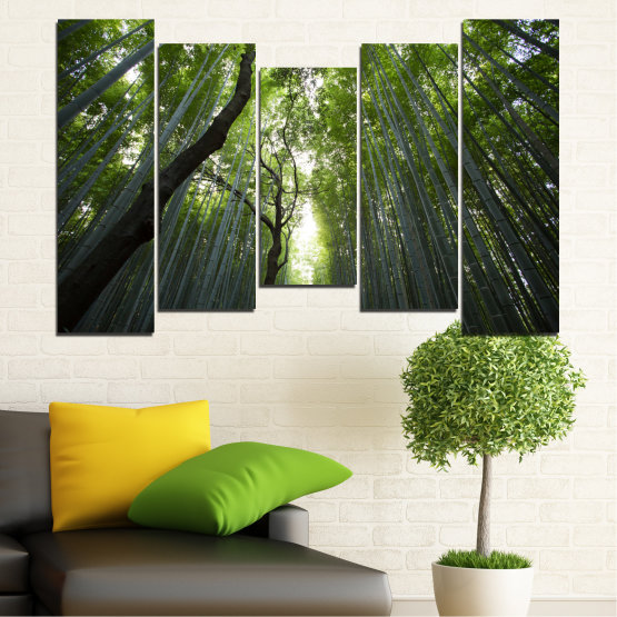 Canvas prints & wall decorative panels - 5 pieces №0525 » Green, Black » Nature, Landscape, Forest, Freshness Form #4