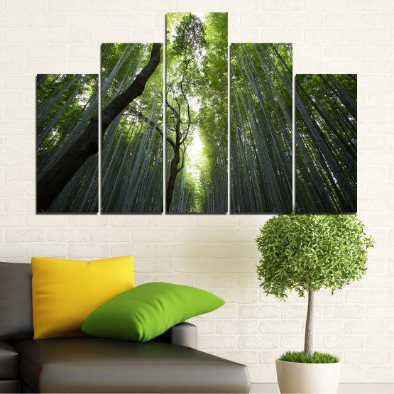 Canvas prints & wall decorative panels - 5 pieces №0525 » Green, Black » Nature, Landscape, Freshness, Forest Form #5