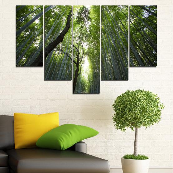 Canvas prints & wall decorative panels - 5 pieces №0525 » Green, Black » Nature, Landscape, Freshness, Forest Form #6