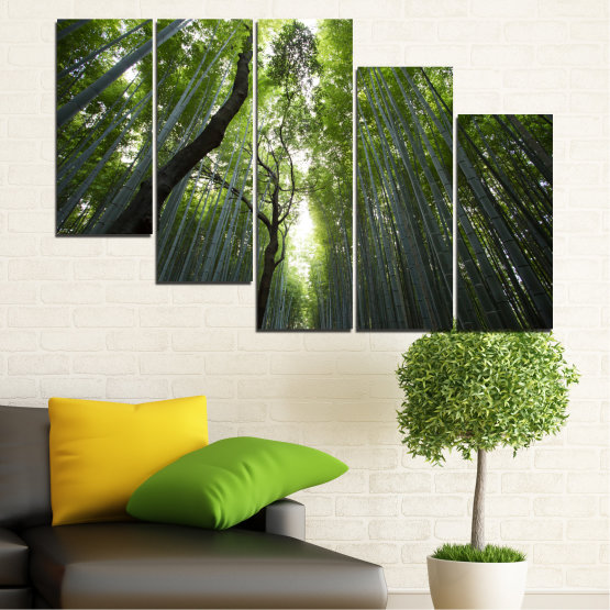 Canvas prints & wall decorative panels - 5 pieces №0525 » Green, Black » Nature, Landscape, Freshness, Forest Form #7