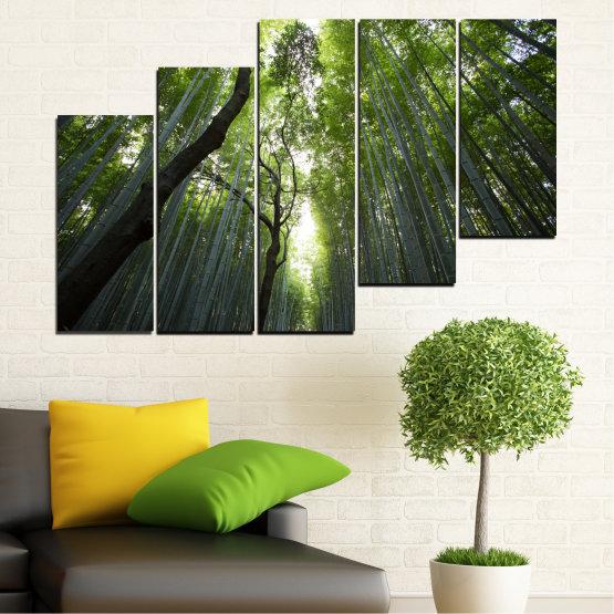 Canvas prints & wall decorative panels - 5 pieces №0525 » Green, Black » Nature, Landscape, Forest, Freshness Form #8