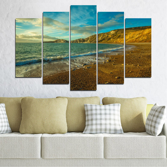 Canvas prints & wall decorative panels - 5 pieces №0526 » Blue, Brown, Gray, Dark grey » Landscape, Water, Sea, Beach, Wave, Rocks Form #1