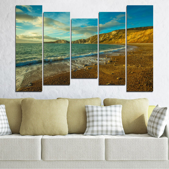 Canvas prints & wall decorative panels - 5 pieces №0526 » Blue, Brown, Gray, Dark grey » Landscape, Water, Sea, Beach, Wave, Rocks Form #4