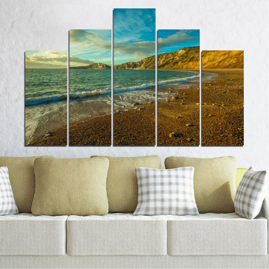 Canvas prints & wall decorative panels - 5 pieces №0526 » Blue, Brown, Gray, Dark grey » Landscape, Water, Sea, Beach, Wave, Rocks Form #5