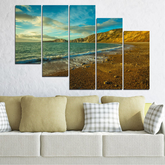 Canvas prints & wall decorative panels - 5 pieces №0526 » Blue, Brown, Gray, Dark grey » Landscape, Water, Sea, Beach, Wave, Rocks Form #7