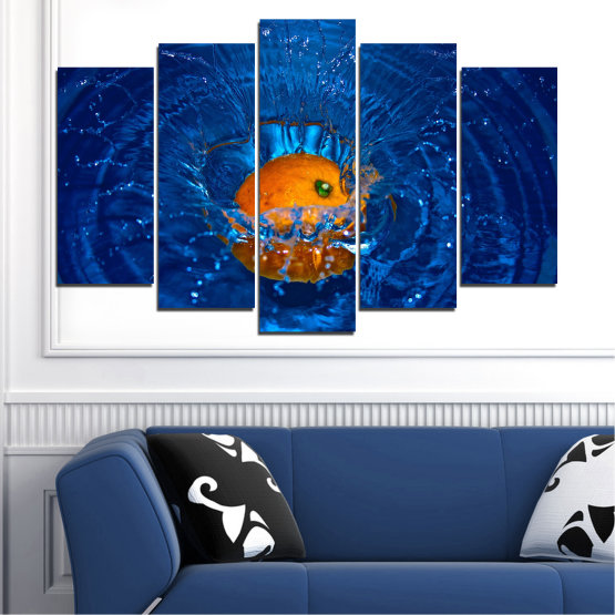 Canvas prints & wall decorative panels - 5 pieces №0527 » Blue, Brown, Black, Dark grey » Water, Drops, Fruits, Orange Form #1
