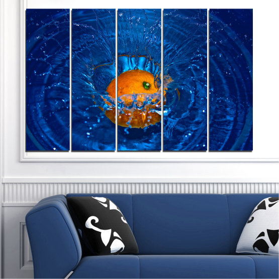 Canvas prints & wall decorative panels - 5 pieces №0527 » Blue, Brown, Black, Dark grey » Water, Drops, Fruits, Orange Form #2