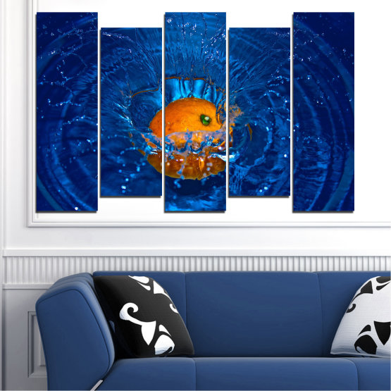 Canvas prints & wall decorative panels - 5 pieces №0527 » Blue, Brown, Black, Dark grey » Water, Drops, Fruits, Orange Form #3