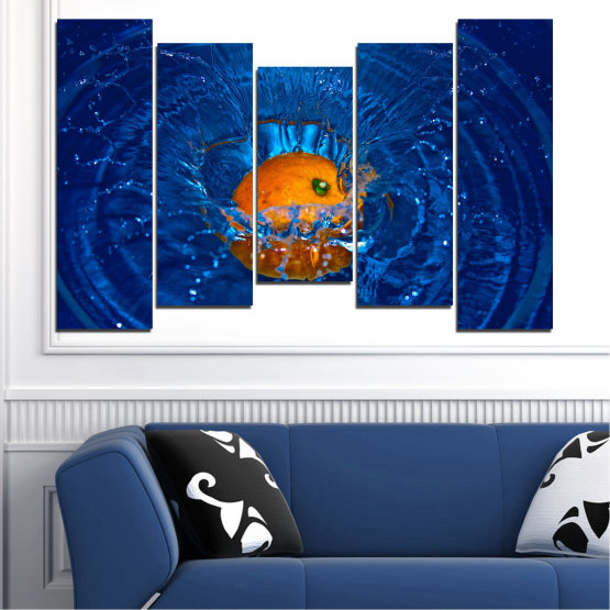 Canvas prints & wall decorative panels - 5 pieces №0527 » Blue, Brown, Black, Dark grey » Water, Drops, Fruits, Orange Form #4