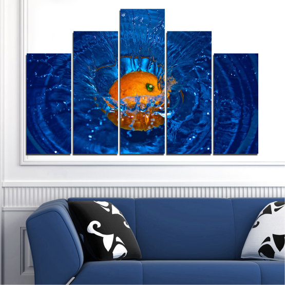 Canvas prints & wall decorative panels - 5 pieces №0527 » Blue, Brown, Black, Dark grey » Water, Drops, Fruits, Orange Form #5
