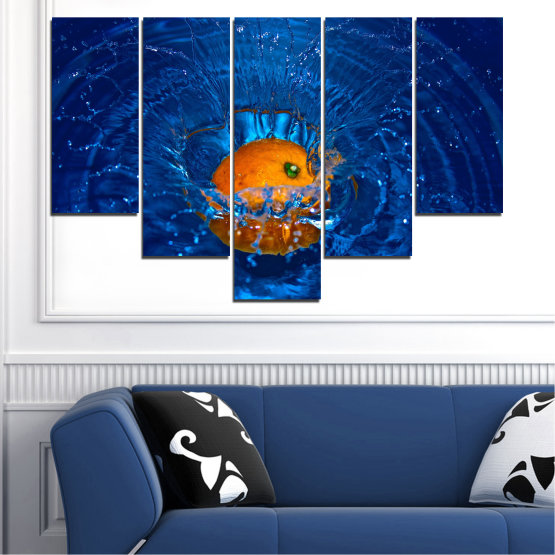 Canvas prints & wall decorative panels - 5 pieces №0527 » Blue, Brown, Black, Dark grey » Water, Drops, Fruits, Orange Form #6