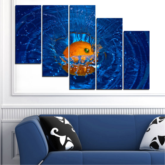 Canvas prints & wall decorative panels - 5 pieces №0527 » Blue, Brown, Black, Dark grey » Water, Drops, Fruits, Orange Form #7
