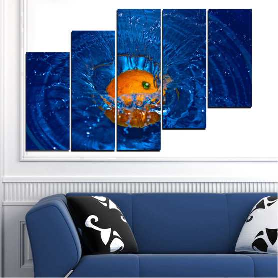 Canvas prints & wall decorative panels - 5 pieces №0527 » Blue, Brown, Black, Dark grey » Water, Drops, Fruits, Orange Form #8