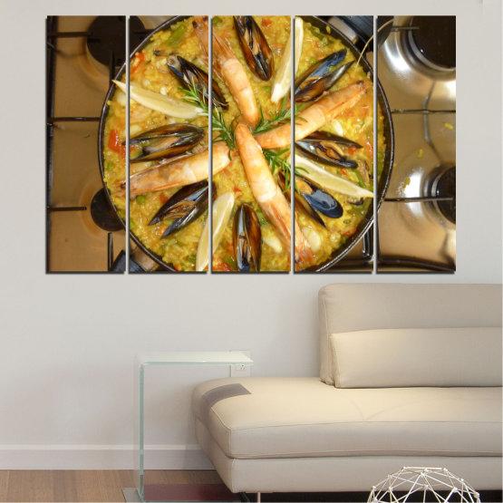 Декоративни панели и картини от канава - от 5 части №0528 » Зелен, Оранжев, Кафяв, Черен » Кулинарен, Ястие, Паеля Form #2
