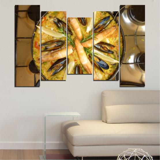 Декоративни панели и картини от канава - от 5 части №0528 » Зелен, Оранжев, Кафяв, Черен » Кулинарен, Ястие, Паеля Form #4