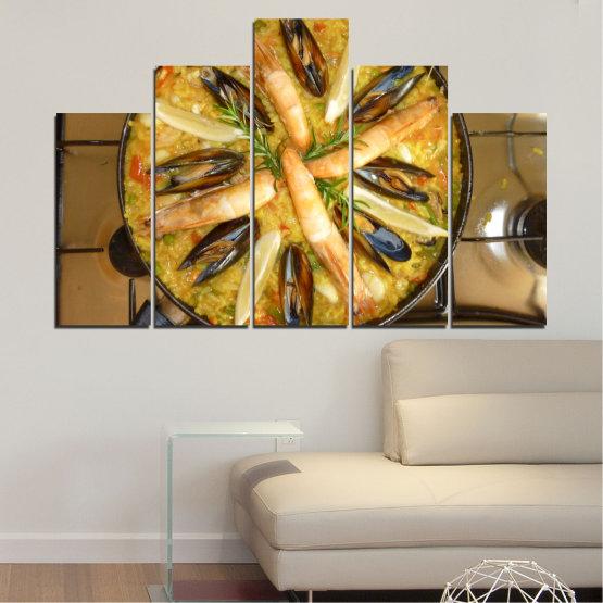 Декоративни панели и картини от канава - от 5 части №0528 » Зелен, Оранжев, Кафяв, Черен » Кулинарен, Ястие, Паеля Form #5