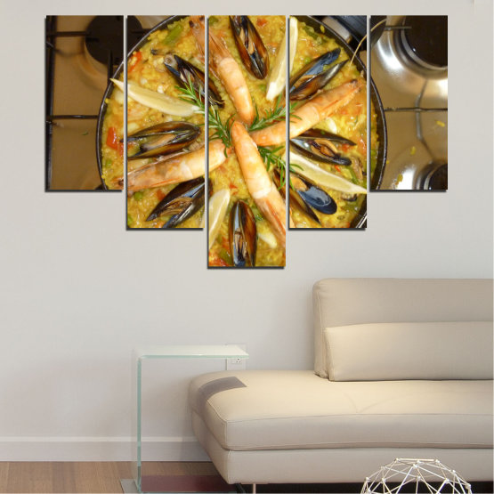Декоративни панели и картини от канава - от 5 части №0528 » Зелен, Оранжев, Кафяв, Черен » Кулинарен, Ястие, Паеля Form #6