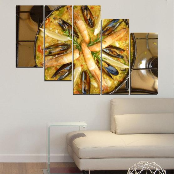Декоративни панели и картини от канава - от 5 части №0528 » Зелен, Оранжев, Кафяв, Черен » Кулинарен, Ястие, Паеля Form #7