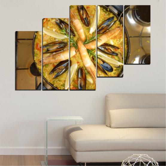 Декоративни панели и картини от канава - от 5 части №0528 » Зелен, Оранжев, Кафяв, Черен » Кулинарен, Ястие, Паеля Form #8