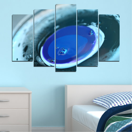 Canvas prints & wall decorative panels - 5 pieces №0529 » Blue, Gray, Dark grey » Abstraction, Drops, Circle, Sphere Form #1