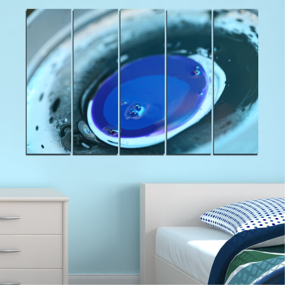 Canvas prints & wall decorative panels - 5 pieces №0529 » Blue, Gray, Dark grey » Abstraction, Drops, Sphere, Circle Form #2