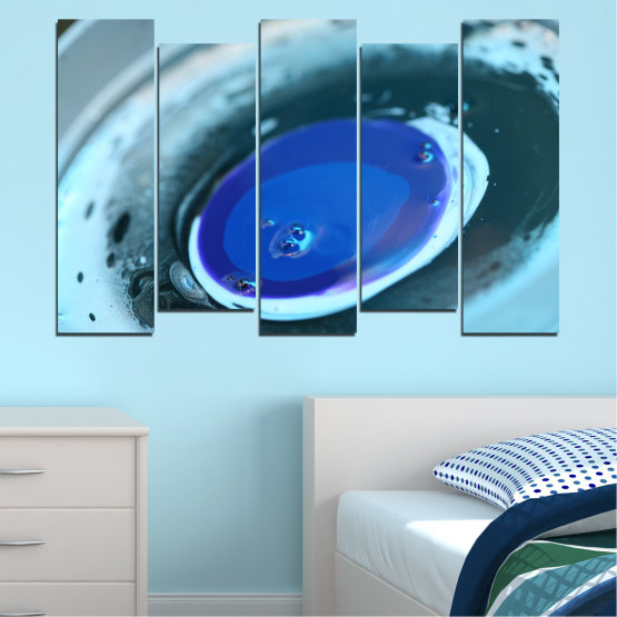 Canvas prints & wall decorative panels - 5 pieces №0529 » Blue, Gray, Dark grey » Abstraction, Drops, Circle, Sphere Form #3