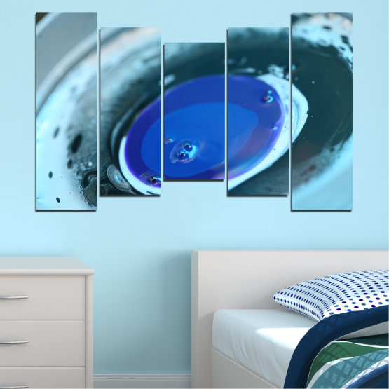 Canvas prints & wall decorative panels - 5 pieces №0529 » Blue, Gray, Dark grey » Abstraction, Drops, Circle, Sphere Form #4