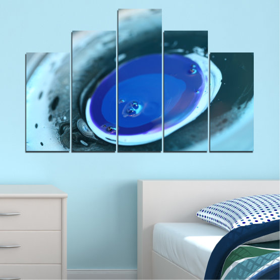 Canvas prints & wall decorative panels - 5 pieces №0529 » Blue, Gray, Dark grey » Abstraction, Drops, Circle, Sphere Form #5