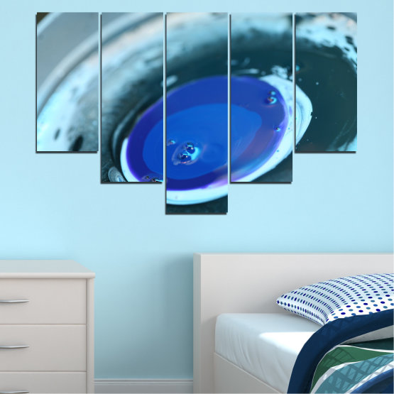 Canvas prints & wall decorative panels - 5 pieces №0529 » Blue, Gray, Dark grey » Abstraction, Drops, Circle, Sphere Form #6