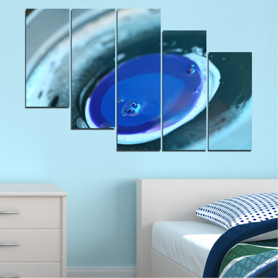 Canvas prints & wall decorative panels - 5 pieces №0529 » Blue, Gray, Dark grey » Abstraction, Drops, Sphere, Circle Form #7