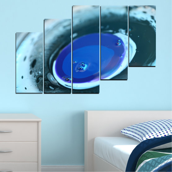 Canvas prints & wall decorative panels - 5 pieces №0529 » Blue, Gray, Dark grey » Abstraction, Drops, Circle, Sphere Form #8