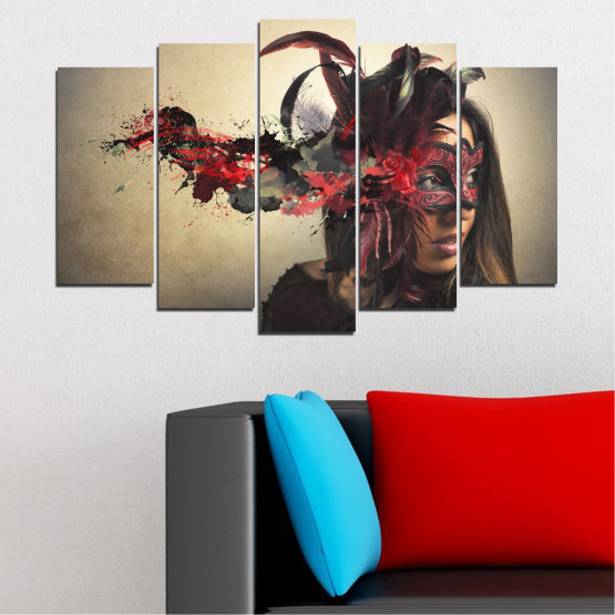 Canvas prints & wall decorative panels - 5 pieces №0053 » Brown, Black, Gray, Beige, Dark grey » Woman, Collage, Mask, Carnival Form #1