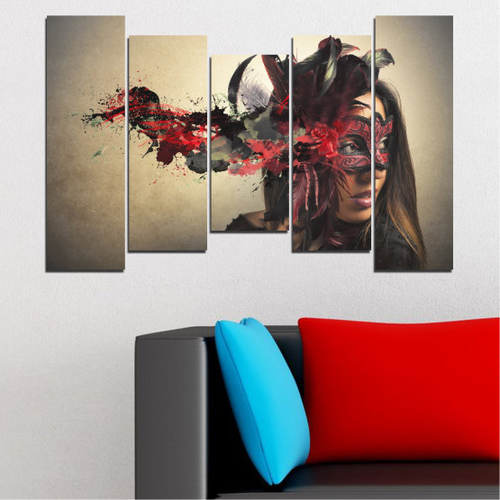 Canvas prints & wall decorative panels - 5 pieces №0053 » Brown, Black, Gray, Beige, Dark grey » Woman, Collage, Mask, Carnival Form #4