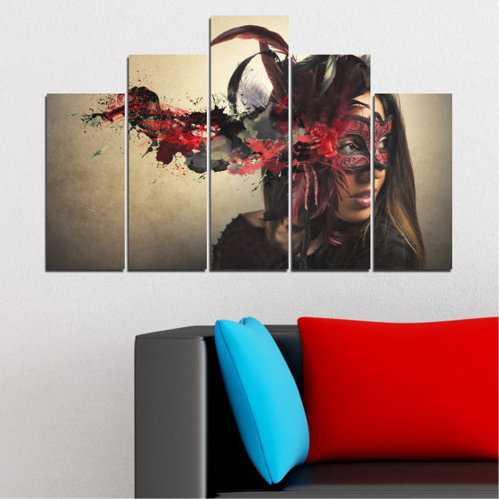 Canvas prints & wall decorative panels - 5 pieces №0053 » Brown, Black, Gray, Beige, Dark grey » Woman, Collage, Mask, Carnival Form #5