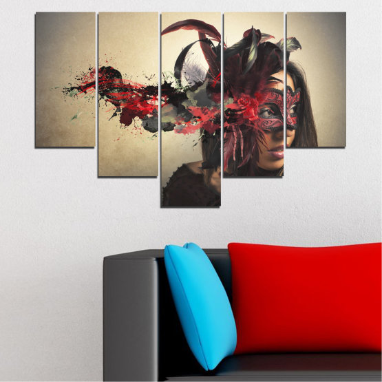 Canvas prints & wall decorative panels - 5 pieces №0053 » Brown, Black, Gray, Beige, Dark grey » Woman, Collage, Mask, Carnival Form #6