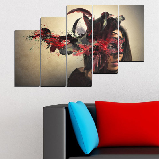 Canvas prints & wall decorative panels - 5 pieces №0053 » Brown, Black, Gray, Beige, Dark grey » Woman, Collage, Mask, Carnival Form #8