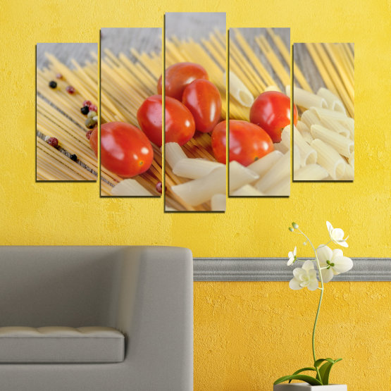 Canvas prints & wall decorative panels - 5 pieces №0530 » Red, Green, Orange, Gray, Beige » Culinary, Italy, Paste Form #1