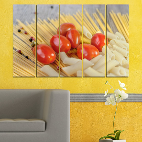 Canvas prints & wall decorative panels - 5 pieces №0530 » Red, Green, Orange, Gray, Beige » Culinary, Italy, Paste Form #2