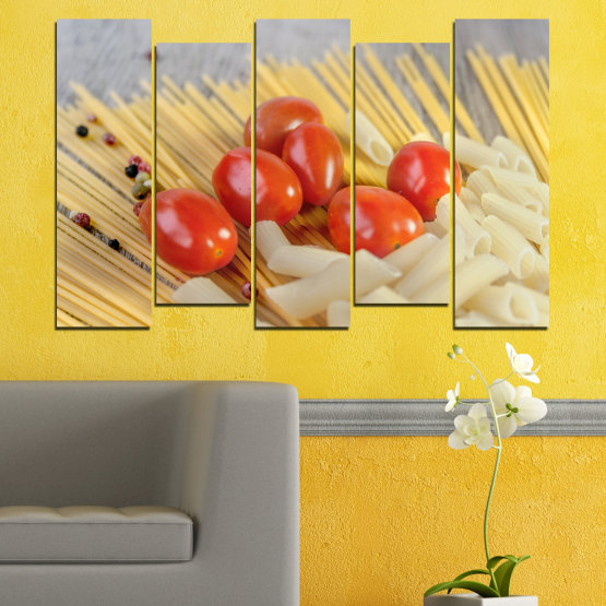 Canvas prints & wall decorative panels - 5 pieces №0530 » Red, Green, Orange, Gray, Beige » Culinary, Italy, Paste Form #3