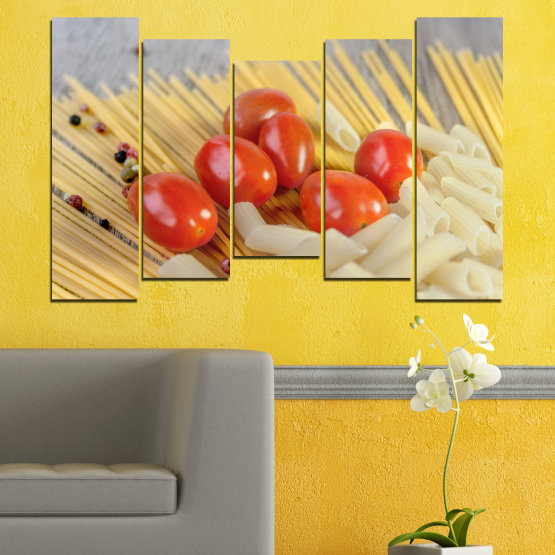 Canvas prints & wall decorative panels - 5 pieces №0530 » Red, Green, Orange, Gray, Beige » Culinary, Italy, Paste Form #4
