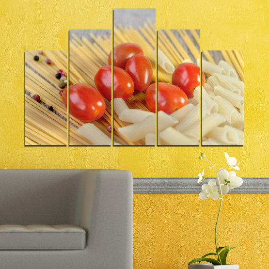 Canvas prints & wall decorative panels - 5 pieces №0530 » Red, Green, Orange, Gray, Beige » Culinary, Italy, Paste Form #5