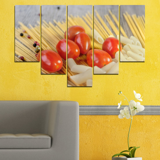 Canvas prints & wall decorative panels - 5 pieces №0530 » Red, Green, Orange, Gray, Beige » Culinary, Italy, Paste Form #6