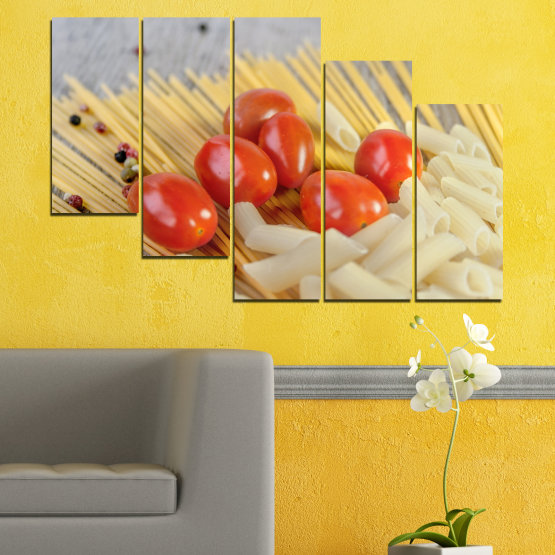 Canvas prints & wall decorative panels - 5 pieces №0530 » Red, Green, Orange, Gray, Beige » Culinary, Italy, Paste Form #7