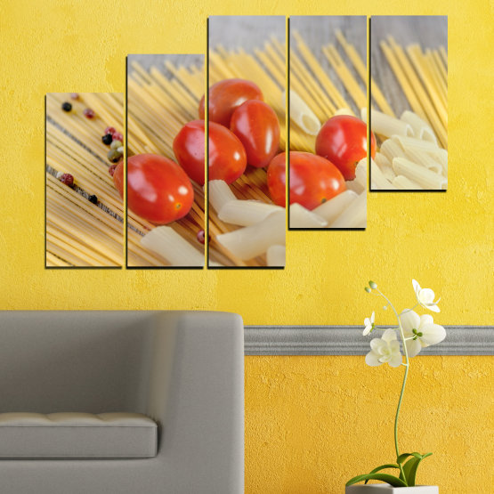 Canvas prints & wall decorative panels - 5 pieces №0530 » Red, Green, Orange, Gray, Beige » Culinary, Italy, Paste Form #8
