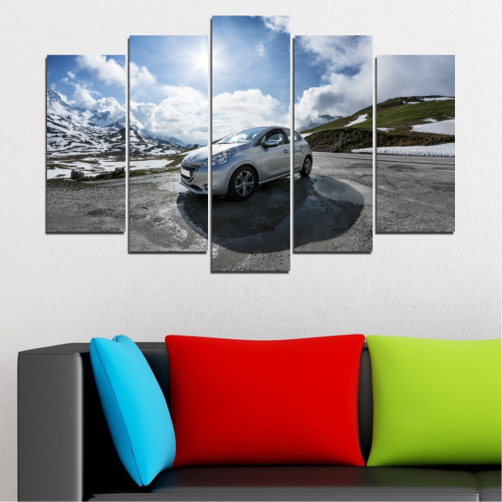 Canvas prints & wall decorative panels - 5 pieces №0531 » Black, Gray, Dark grey » Sun, Car, Vehicle, Road Form #1