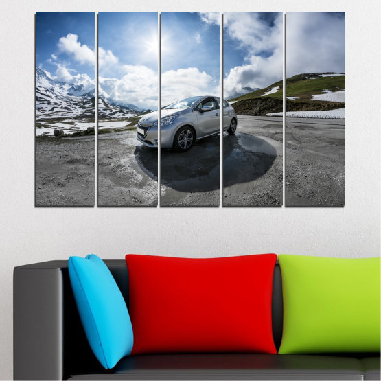 Canvas prints & wall decorative panels - 5 pieces №0531 » Black, Gray, Dark grey » Sun, Car, Vehicle, Road Form #2
