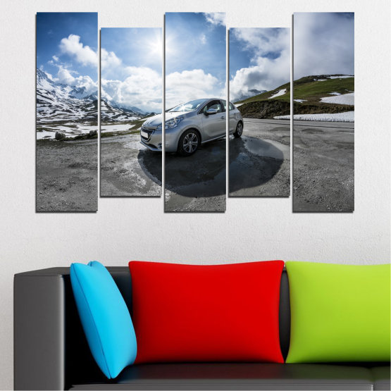 Canvas prints & wall decorative panels - 5 pieces №0531 » Black, Gray, Dark grey » Sun, Car, Vehicle, Road Form #3