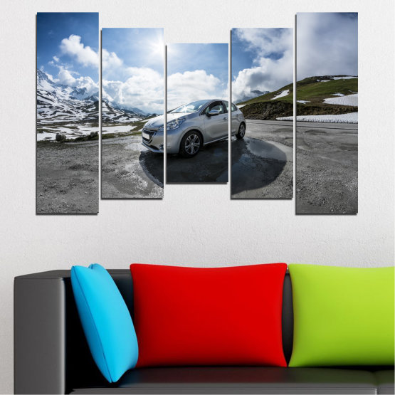 Canvas prints & wall decorative panels - 5 pieces №0531 » Black, Gray, Dark grey » Sun, Car, Vehicle, Road Form #4