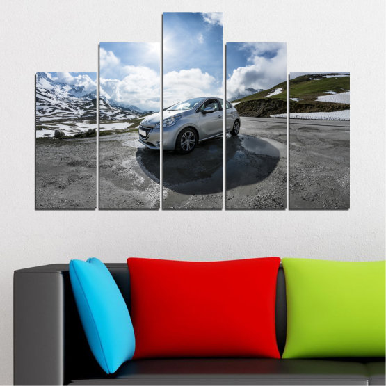 Canvas prints & wall decorative panels - 5 pieces №0531 » Black, Gray, Dark grey » Sun, Car, Vehicle, Road Form #5