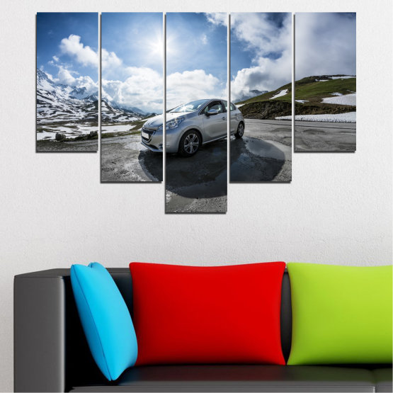 Canvas prints & wall decorative panels - 5 pieces №0531 » Black, Gray, Dark grey » Sun, Car, Vehicle, Road Form #6